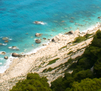 Pine forests, white cliffs and turquoise blue water on the Western coast